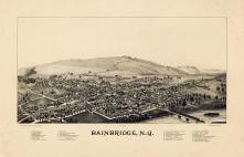 Bainbridge 1889 Bird's Eye View 24x36, Bainbridge 1889 Bird's Eye View